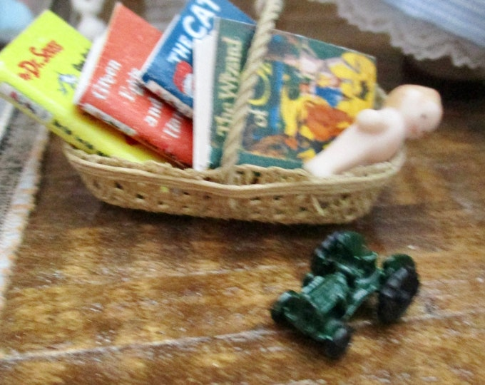Miniature Tractor, Miniature Green Toy Tractor, Style #15, Dollhouse Miniature, 1:12 Scale, Dollhouse Accessory, Decor, Crafts