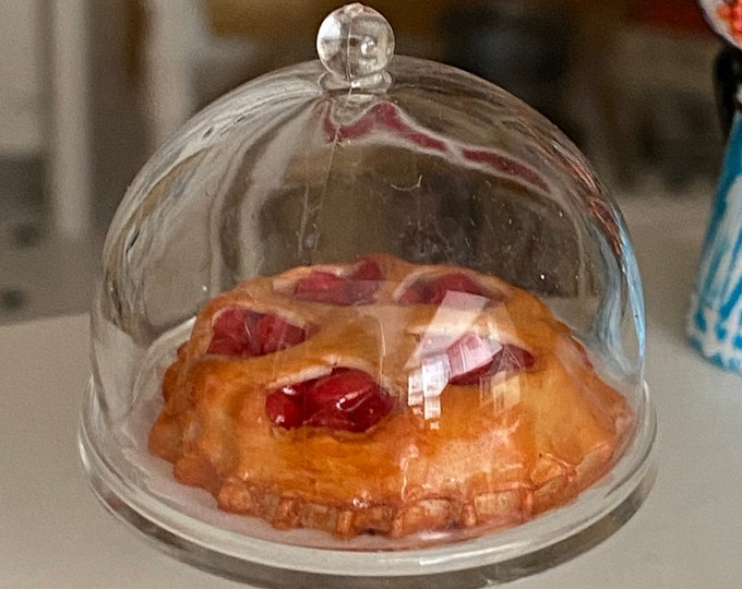 Miniature Pie and Stand, Cherry Pie Tart With Covered Stand, Style #93,  Dollhouse Miniature, 1:12 Scale, Dollhouse Accessory, Decor
