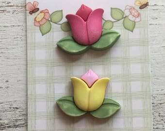 "Tulip Flower Buttons, ""Tulips"" Style SF122, Carded Novelty Buttons by Buttons Galore, Shank Back Buttons, 3D Buttons Embellishments"