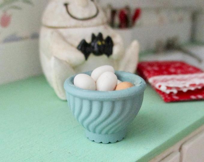 Miniature Eggs in Bowl, Mini Filled Egg Bowl Dollhouse Miniature, 1:12 Scale, Dollhouse Food, Accessory, Decor