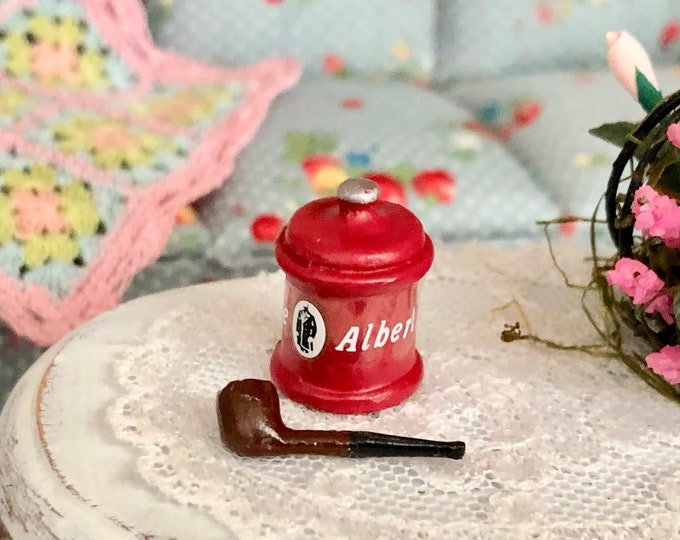Miniature Pipe and Tobacco Can, Dollhouse Miniature, 1:12 Scale, Dollhouse Accessory, Decor