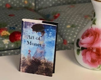 """Miniature Book, """"Art of Monet"""", Printed Text and Color Illustrations, Dollhouse Miniature, 1:12 Scale, Mini Book, Readable Book"""