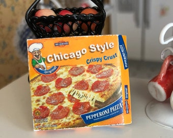 Miniature Pizza, Mini Frozen Deep Dish Pizza Box, Dollhouse Miniature, 1:12 Scale, Dollhouse Accessory, Decor, Crafts, Mini Food