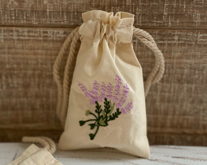 Little Muslin Embroidery Pouch, Set of 2, Lavender Embroidered Bags, Great for Mini Item Storage, 3 x 5 Cloth Bags