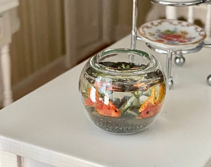 Miniature Fish Bowl, Mini Glass Fish Bowl With 2 Fish, Dollhouse Miniature, 1:12 Scale, Dollhouse Decor, Accessory, Mini Pet