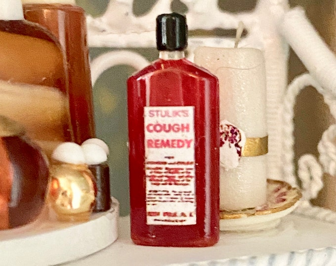 Miniature Medicine Cabinet Bottle, Miniature Bottle Cough Remedy, Dollhouse Miniature, 1:12 Scale, Dollhouse Accessory, Bathroom Decor