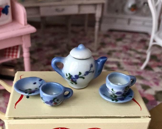 Miniature Tea Set, Blue and White Ceramic 6 Piece Mini Tea Set, Dollhouse Miniature, 1:12 Scale, Dollhouse Accessory, Decor, Mini Cups