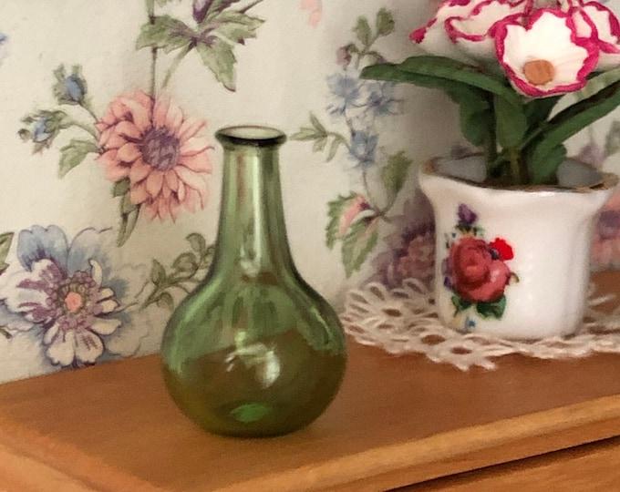 Miniature Green Glass Vase, Mini Green Onion Jar Vase, Style #62, Dollhouse Miniature, 1:12 Scale, Dollhouse Decor, Accessory