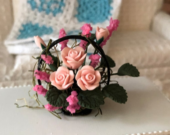 Miniature Roses, Mini Pink Roses in Wire Basket, Dollhouse Miniature, 1:12 Scale, Centerpiece, Dollhouse Flowers, Accessory, Decor