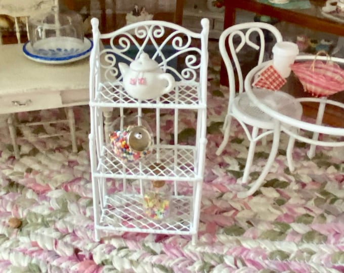 Miniature White Metal Wire Rack, 3 Shelves, Style #30, Dollhouse Miniature Furniture, 1:12 Scale, Book Shelf, Shelving