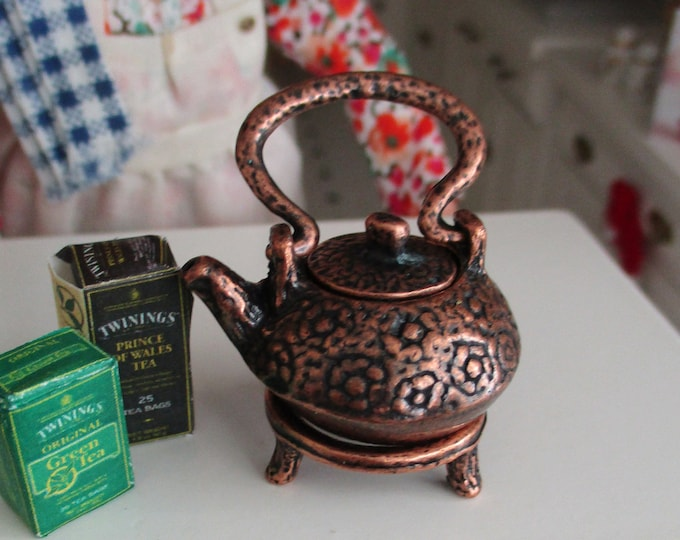 Miniature Copper Teapot, Mini Antique Look Copper Teapot with Stand, Dollhouse Miniature, 1:12 Scale, Mini Tea Pot