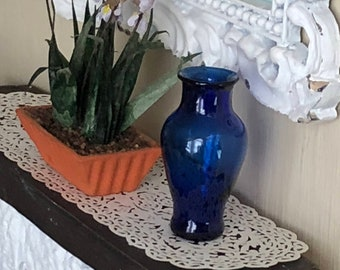 Dollhouse Miniature Cobalt Blue Pedestal Vase Large Glass 1:12 Scale for flowers