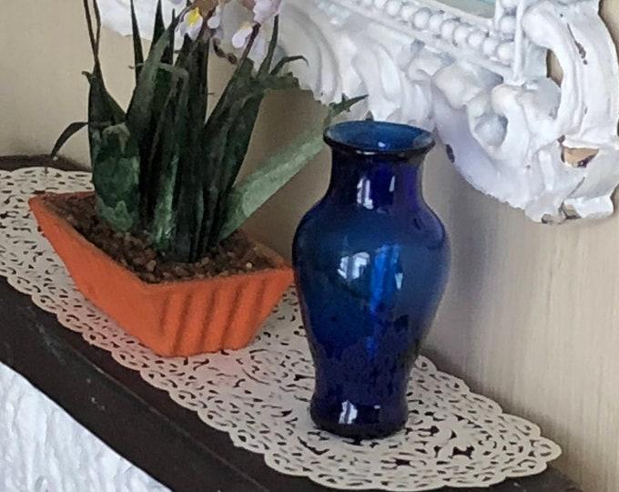 Miniature Glass Vase, Blue Pedestal; Vase. Dollhouse Miniature, 1:12 Scale, Dollhouse Accessory, Decor, Mini Vase, Mini Flower Vase