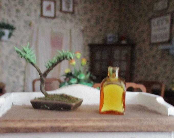 Miniature Square Glass Bottle, Mini Amber Bottle, Style #55, Dollhouse Miniature, 1:12 Scale, Dollhouse Accessory, Decor, Mini Glass Bottle