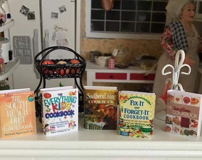 Miniature Cookbooks, 5 Piece Set, Style 2, Dollhouse Miniatures, 1:12 Scale, Mini Books, Dollhouse Kitchen Accessory, Cooking