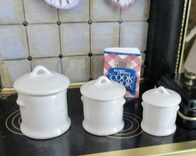 Miniature White Porcelain Canister Set, 3 Piece Mini Canister Set, Dollhouse Miniature, 1:12 Scale, Dollhouse Accessory, Kitchen Decor