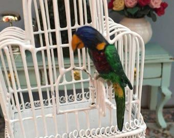 Miniature Bird Figurine, Green Naped Lorikeet, #99, Dollhouse Miniature, Mini Bird, Dollhouse Accessory, Decor, Mini Pet, Crafts