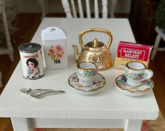 Miniature Tea Lover Set, 10 Piece Set, Tea, Cups, Tea Pot, Spoons, Dollhouse Miniatures, 1:12 Scale, Dollhouse Decor, Accessories