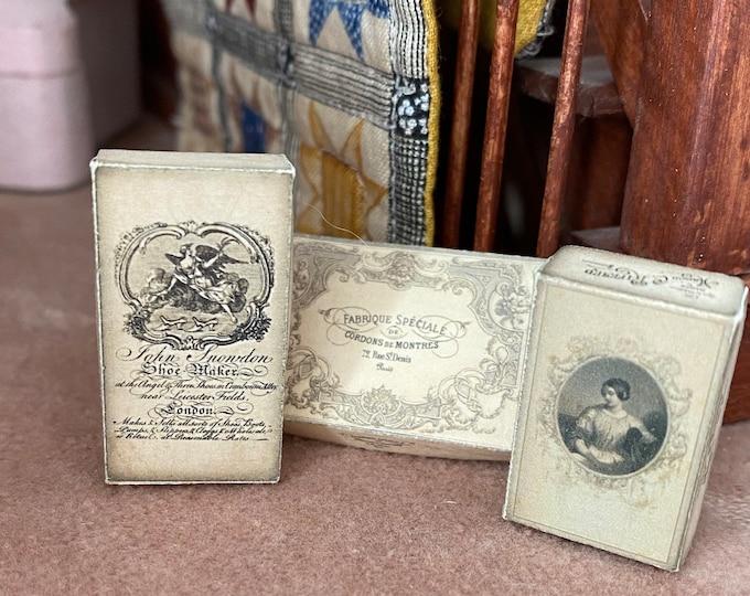 Miniature Boxes, Mini Box Set With Vintage Look Graphics, Hand Made, 3 PC Set, Dollhouse Miniatures, 1:12 Scale, Dollhouse Accessory, Decor