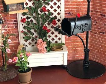 Miniature Mailbox, Black Metal Mailbox, Dollhouse Miniature, 1:12 Scale, Dollhouse Accessory, Home & Garden Decor, Shelf Sitter, Topper