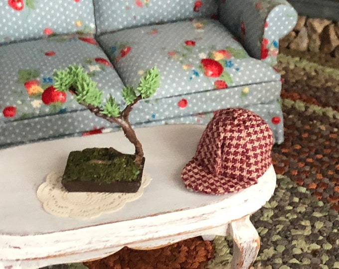 Miniature Hat, Red Checkered Hat With Brim, Style #68, Dollhouse Miniature, Dollhouse Accessory, Decor, Crafts, Mini Red Check Hat