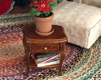Miniature End Table, Sheraton Style Wood Table With Drawer and Bottom Shelf,  Dollhouse Miniature Furniture, 1:12 Scale, Mini Side Table