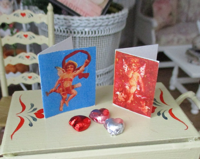 Miniature Hearts and Cards, Mini Foil Candy Hearts And 2 Valentine Cards, 5 PC Set, Dollhouse Miniatures, 1:12 Scale, Holiday Decor