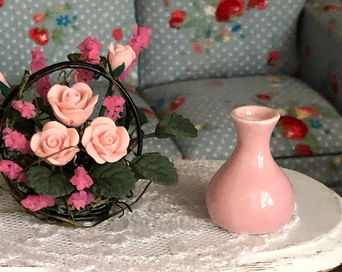 Miniature Pink Vase, Dollhouse Miniature, 1:12 Scale, Style #39, Dollhouse Decor Accessory, Vase for Dollhouse, Slender Neck Mini Vase