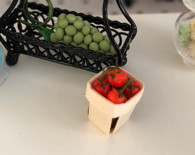 Miniature Tomatoes in Basket, Dollhouse Miniature, 1:12 Scale, Miniature Food, Mini Food, Dollhouse Food, Mini Cherry Basket