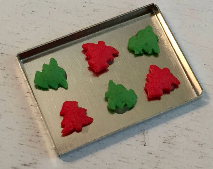Miniature Christmas Cookies on Tray, Red and Green Christmas Tree Cookies,Dollhouse Miniature, 1:12 Scale, Mini Food, Holiday Decor