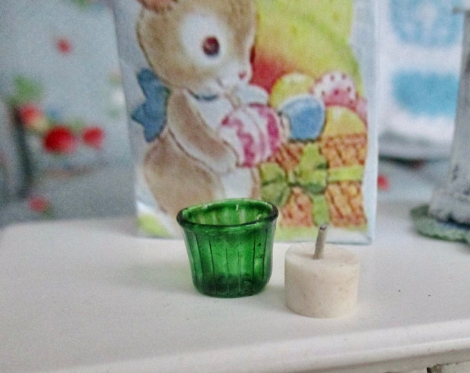 Miniature Green Candle Holder And Candle, Mini Glass Votive Holder And Votive Candle, Dollhouse Miniature, 1:12 Scale, Dollhouse Decor