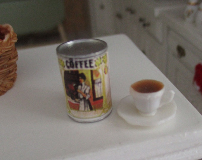 Miniature Coffee Set, Mini Coffee Can With Vintage Look Graphics And Coffee Cup, Dollhouse Miniature, 1:12 Scale, Dollhouse Accessories