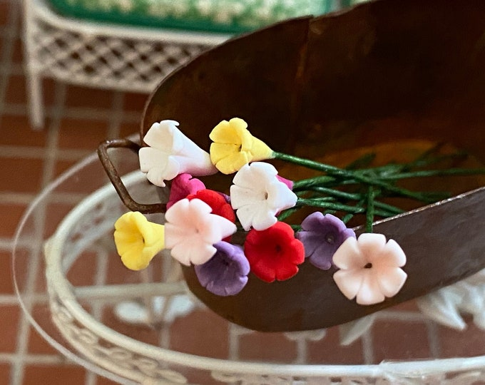 Miniature Flowers, Mini Flowers With Wire Stems, 12 Pc Set, Assorted Colors, Style #06, Dollhouse Miniature, 1:12 Scale, Mini Flowers