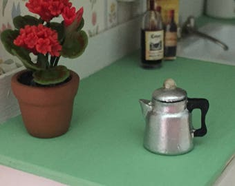 Miniature Percolator, Mini Coffee Pot with Lid, Vintage Look Coffee Pot, Dollhouse Miniature, 1:12 Scale, Dollhouse Decor, Accessory, Crafts