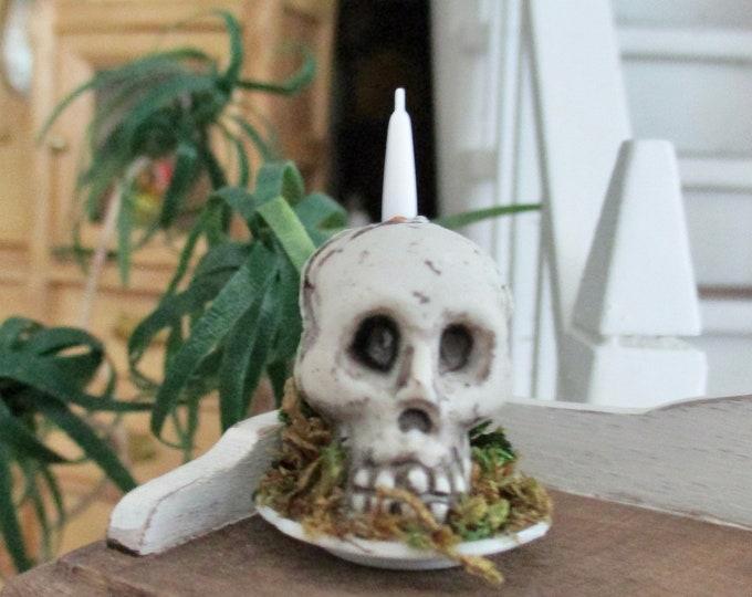 Miniature Skull, Mini Skull Candle Holder Center Piece, Mini Skull On Plate, Dollhouse Miniature, 1:12 Scale, Halloween Decor