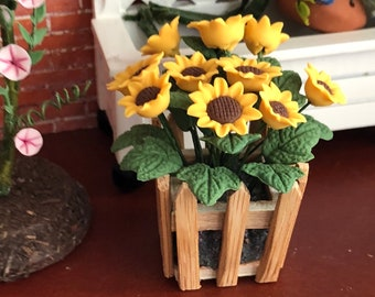 Miniature Sunflowers, Sunflowers in Wood Picket Fence Planter, Dollhouse Miniature, 1:12 Scale, Dollhouse Accessory, Home & Garden Decor