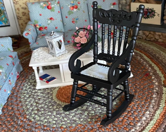 Miniature Rocking Chair, Black Gloucester Style Rocking Chair, Style #29, Mini Wood Rocker,  Dollhouse Miniature Furniture, 1:12 Scale