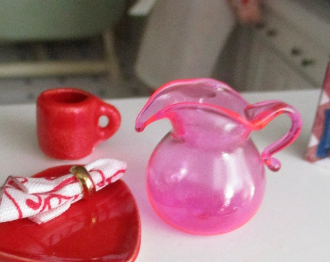 Miniature Glass Pitcher, Pink Pitcher, Style #51,  Dollhouse Miniature, 1:12 Scale, Dollhouse Accessory, Decor, Mini Pitcher