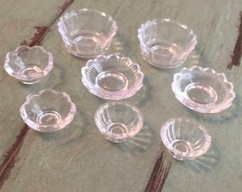 Miniature Clear Bowls, 8 Piece Set, 4, #60 Dollhouse Miniature Kitchen Decor, Accessories, 1:12 Scale, Mini Bowls, Crafts