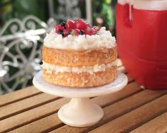 Miniature Strawberry Shortcake on White Cake Stand #84, Dollhouse Miniature, 1:12 Scale, Miniature Food, Dollhouse Food Accessory