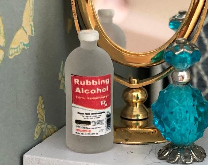 Miniature Medicine Cabinet Bottle, Miniature Rubbing Alcohol, Dollhouse Miniature, 1:12 Scale, Dollhouse Accessory, Bathroom Decor