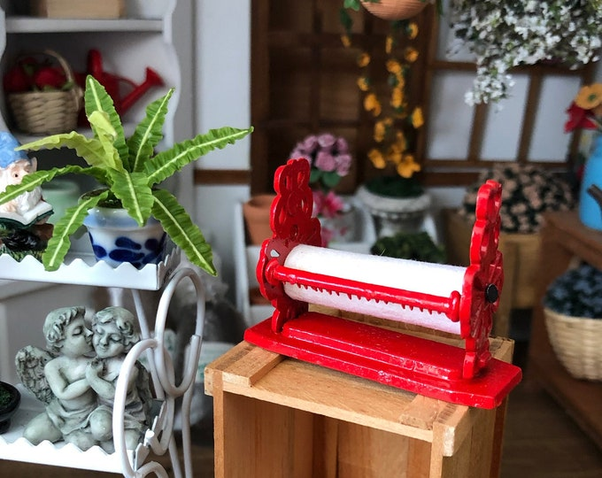 Miniature Vintage Look Red Paper Dispenser, Paper Cutter,  Dollhouse Miniature, Dollhouse General Store, Decor, Dollhouse Accessory
