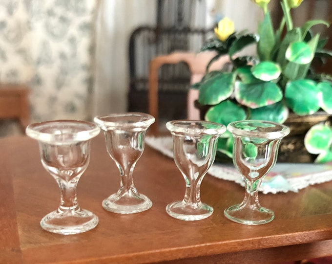 Miniature Glass Wine Glasses, Set of 4, Stemware, Style #09, Dollhouse Miniature, 1:12 Scale, Dollhouse Accessories, Decor, Crafts