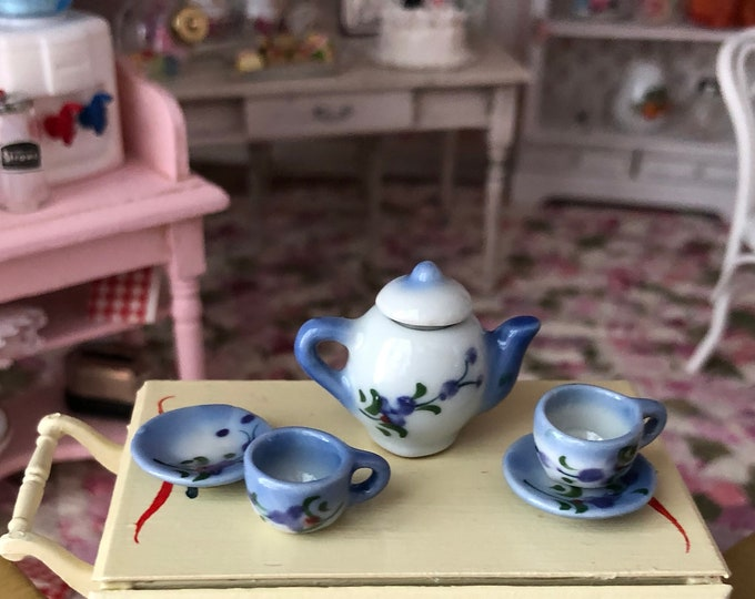 Miniature Tea Set, Blue and White Ceramic 6 Piece Mini Tea Set, Dollhouse Miniature, 1:12 Scale, Dollhouse Accessory, Decor, Mini Cups