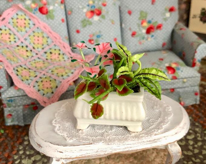 Miniature Plants, Mini Arrangement in Ceramic Planter, Dollhouse Miniature, 1:12 Scale, Dollhouse Decor, Accessory, Mini Plants