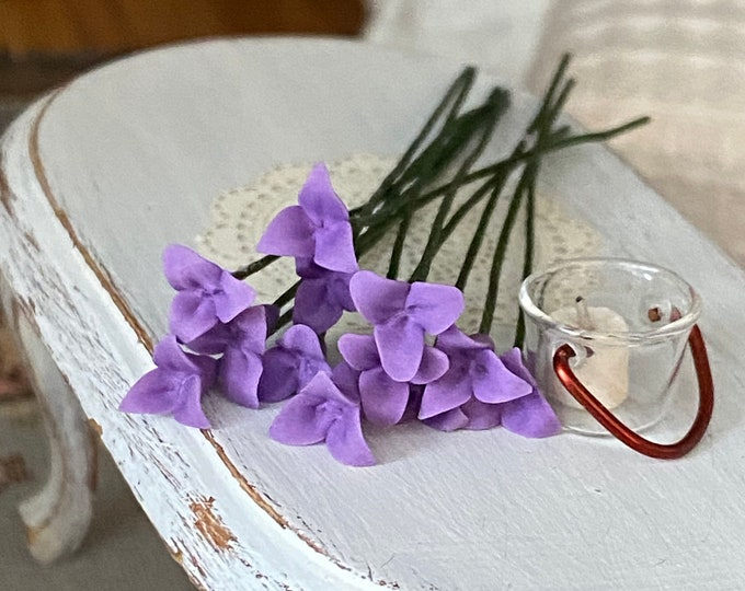 Miniature Flowers, Wire Stem Purple Flowers, 12 Pc Set, Style #12-6, Dollhouse Miniature, 1:12 Scale, Mini Flower Stems