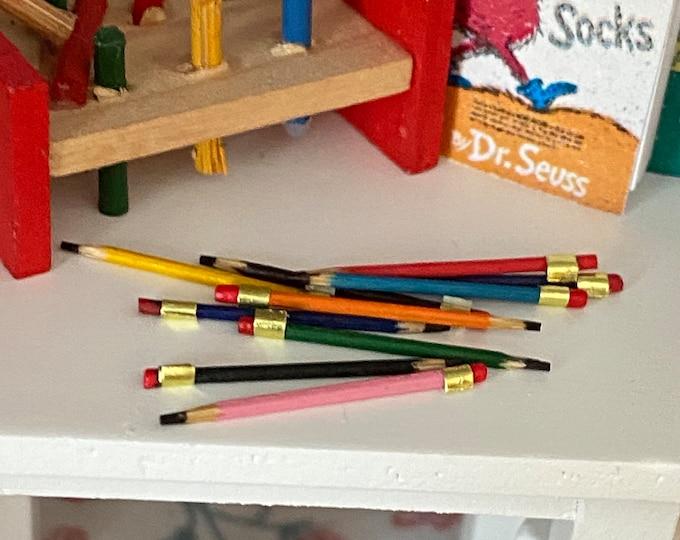 Miniature Pencils, 10 Piece Set, Dollhouse Miniature, 1:12 Scale, Mini Pencil, Dollhouse Decor, Accessory