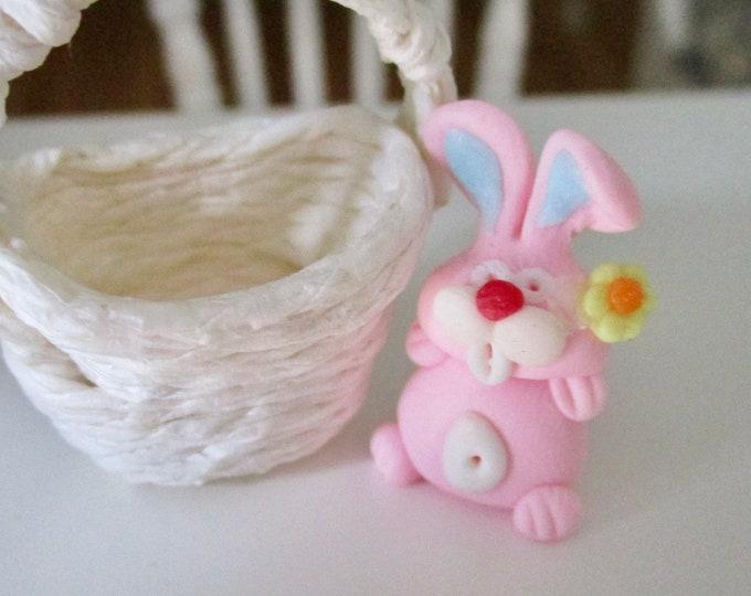 Miniature Bunny, Mini Pink Bunny Figurine, Dollhouse Miniature, 1:12 Scale, Dollhouse Accessory, Easter Decor, Mini Rabbit