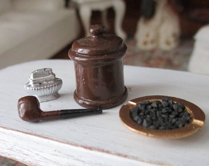 Miniature Pipe Set, 4 Piece Set, Mini Pipe, Lighter, Dollhouse Miniature, 1:12 Scale, Dollhouse Decor, Accessory
