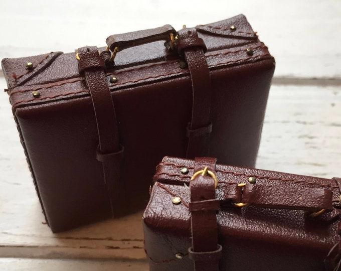 Miniature Suitcase, Medium Faux Leather Suitcase, Mini Luggage, Style 1491, Dollhouse Miniature, 1:12 Scale, Mini Brown Suitcase